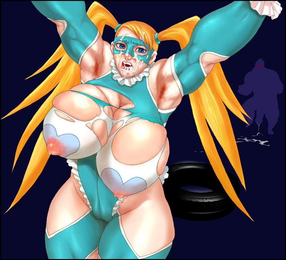 street v mika fighter rainbow Anime cat girl with blue hair